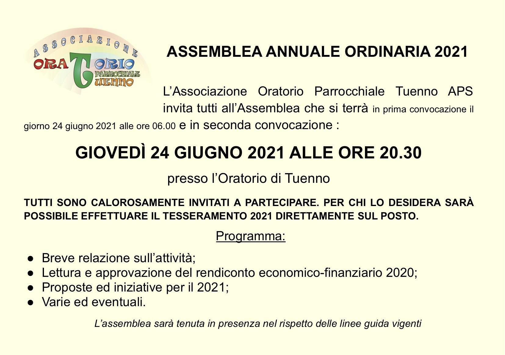 ASSEMBLEA ANNUALE ORDINARIA 2021